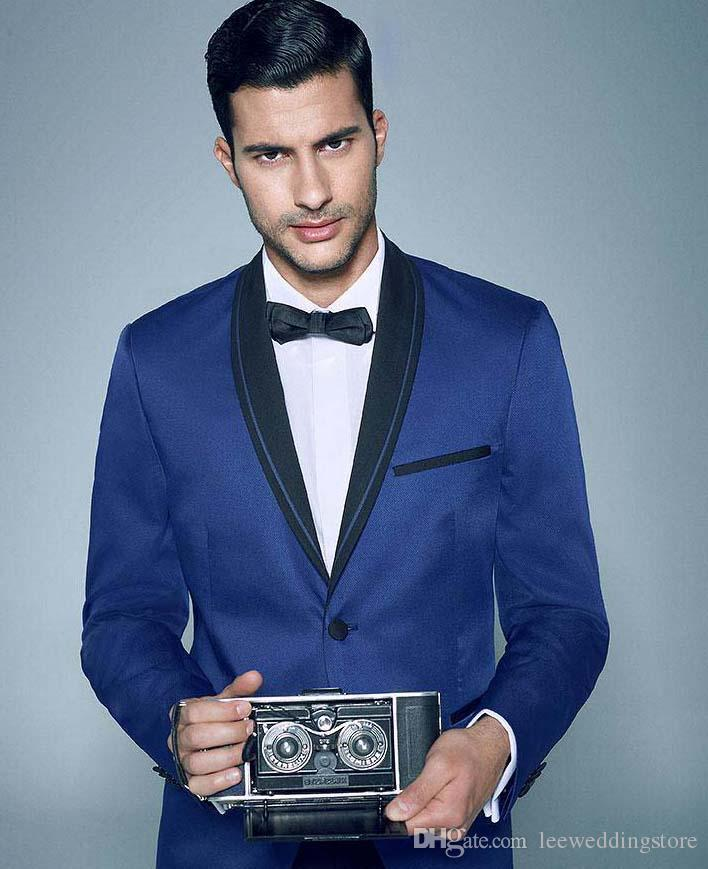 Custom Made Royal Blue Shawl Lapel Men Suits Formal Blazer Slim Fit Wedding Suits Tailored Tuxedos 2 Pieces Terno Masculino (Jacket+Pants)