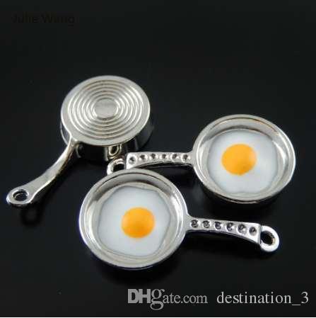 Julie Wang 5 шт. прелести сплава ретро посеребренная сковорода с яйцами ювелирные изделия изготовление подвеска Шарм аксессуар подвеска