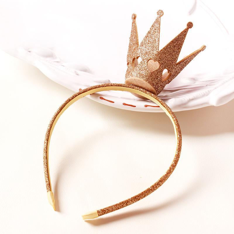 Fahion Filz Tiara Valentine Herz geschnitzte Krone Mädchen Stirnbänder Gold Silber Rose Glitter Haarbänder Kids Party Headwear