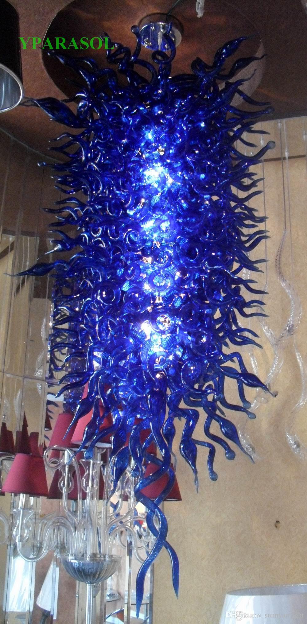Livraison gratuite 100% borosilicate soufflé bouche Décor moderne LED éclairage de la salle Lumière Dale Chihuly style en verre de Murano Lustre en cristal