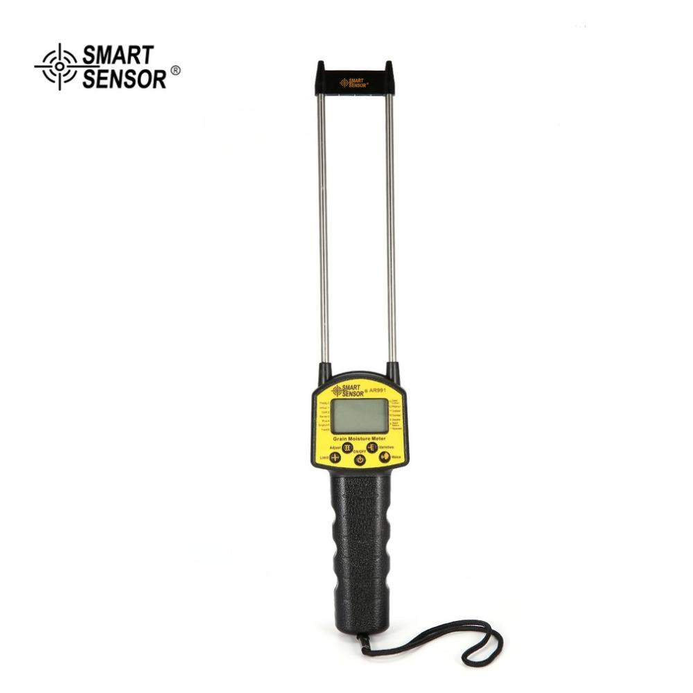 Smart Sensor AR991 Digital misuratore di umidità del grano per mais grano riso chicco di arachidi misurazione dell'umidità tester