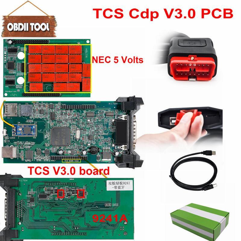 5 pcs Double vert PCB V3.0 Nec relais tcs cdp pro bluetooth 2015 R3 logiciel keygen comme wow Multidiag pro obd2 outil de diagnostic