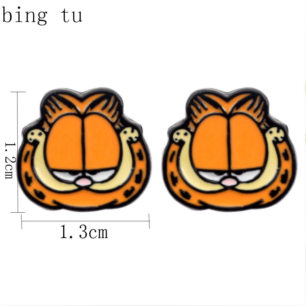 Bing Tu 크리스마스 선물 여자를위한 유럽 유행 귀여운 만화 동물 사랑스러운 Garfield 장식 못 귀고리 brincos 도매 보석