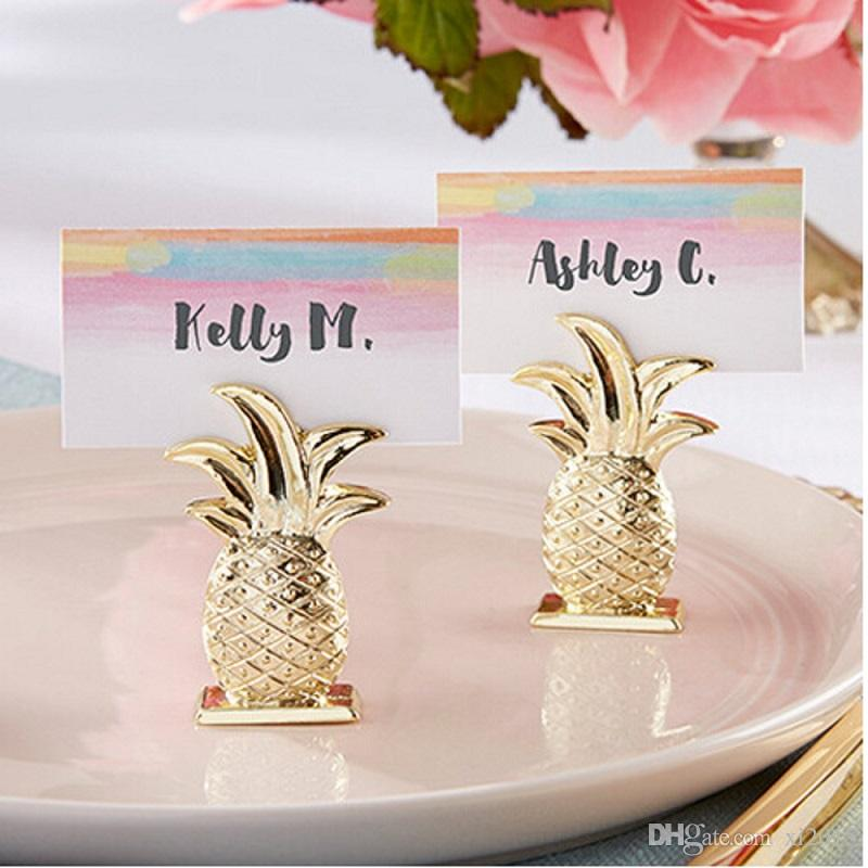 Gold Pineapple Place Card Holder Tropical Wedding Favors Place Card Clip Even Party Table Decor W7362