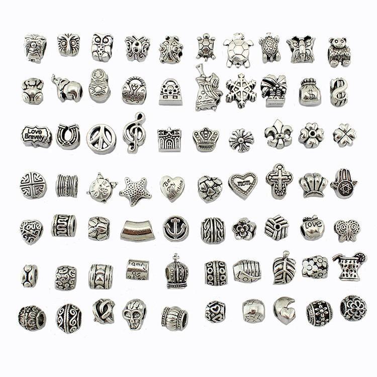 Misturar 70 estilos Contas de Prata Antigo Banhado A Liga Grande Buraco Encantos Spacer Beads fit pandora pulseira DIY Jóias Colares Pingentes