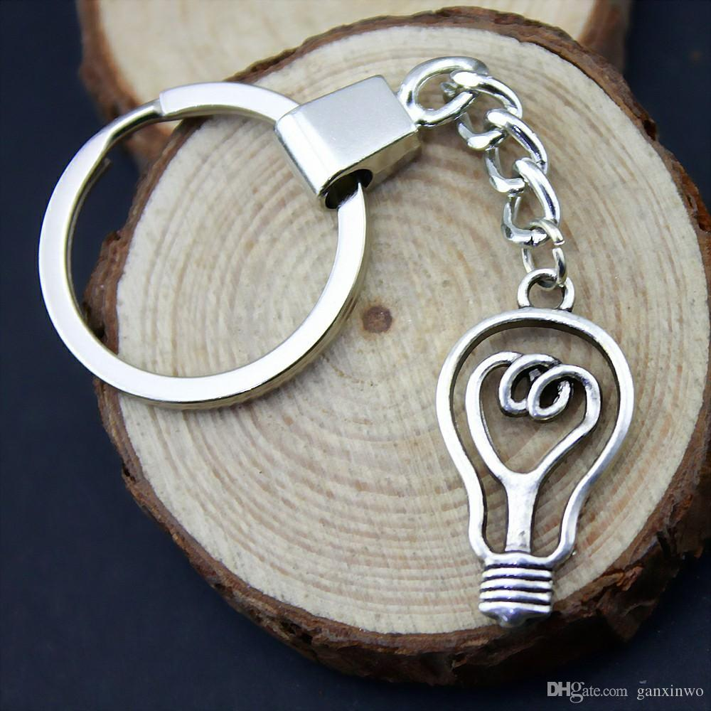 6 Pieces Key Chain Women Key Rings Fashion Keychains For Men Light Bulb 32x17mm YSK-B13245