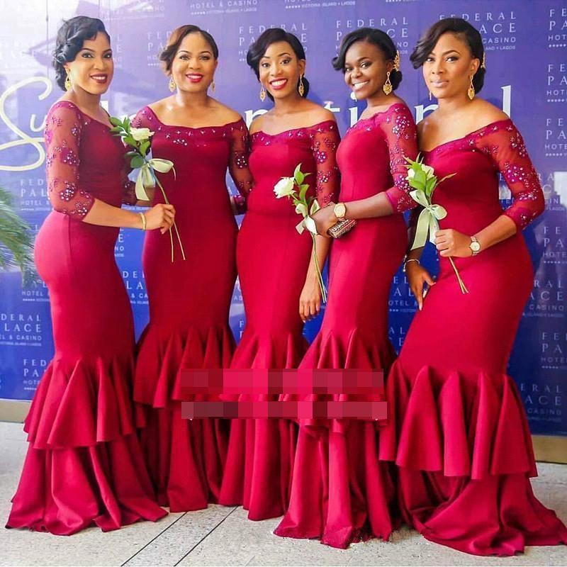 2018 3/4 Long Sleeves Bridesmaid Dress Mermaid Off the Shoulder Pearl Beaded Elastic Satin Sweep Train Maid of Honor Gowns BA9658