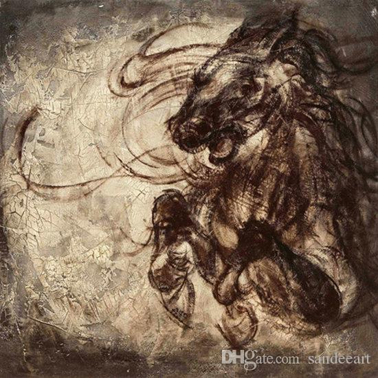 Contemporary Giclee Print Art Wall Animal Horse Abstract oil painting Modern Canvas picture for Living Room Home Bedroom Decor gift JW567