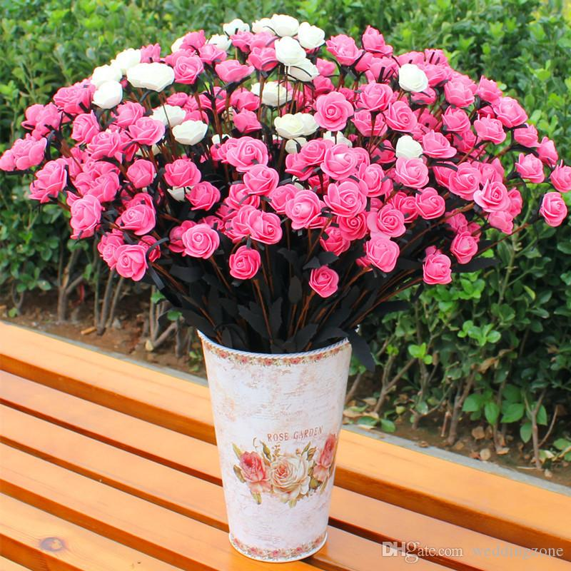 Pastoral style 15 Heads/Bouquet Roses with Silk flower heads Artificial flowers Fake Silk Flower For Wedding/Home Decoration