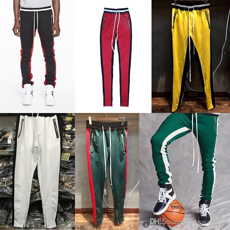 718514d01e New Mens Track Pants FOG Designer Joggers Sweat Pants Fear Of God Fashion  Retro Striped Yellow Green Sweatpants
