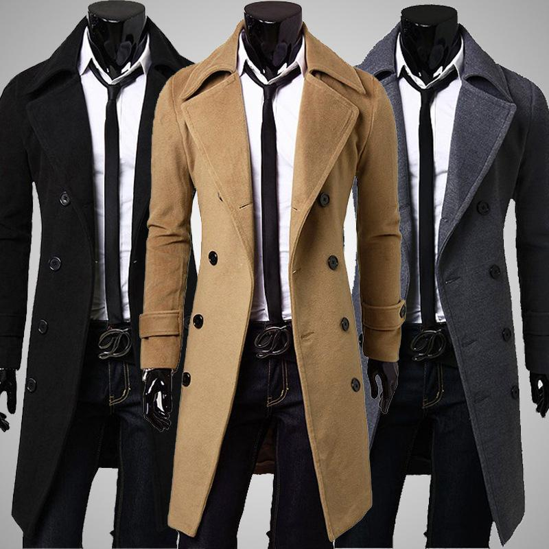 Mens Winter Warm Wool Trench Coat Double Breasted Overcoat Long Jacket Outwear