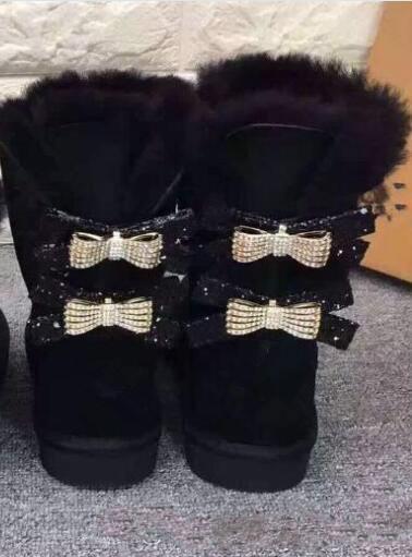 Kostenloser Versand Australien Classic WGG einzigen Doppel-Diamant-Schnee Stiefel weibliche Winter Leder Bogen Strass Krone warme dicke Baumwolle Schuhe