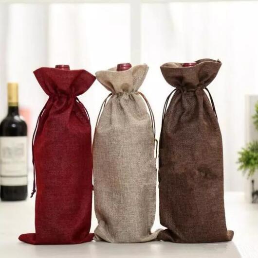 15 * 35 سنتيمتر أكياس النبيذ الشمبانيا النبيذ زجاجة يغطي هدية الحقيبة كيس التغليف حفل زفاف الديكور النبيذ الرباط CCA7314 100 قطع