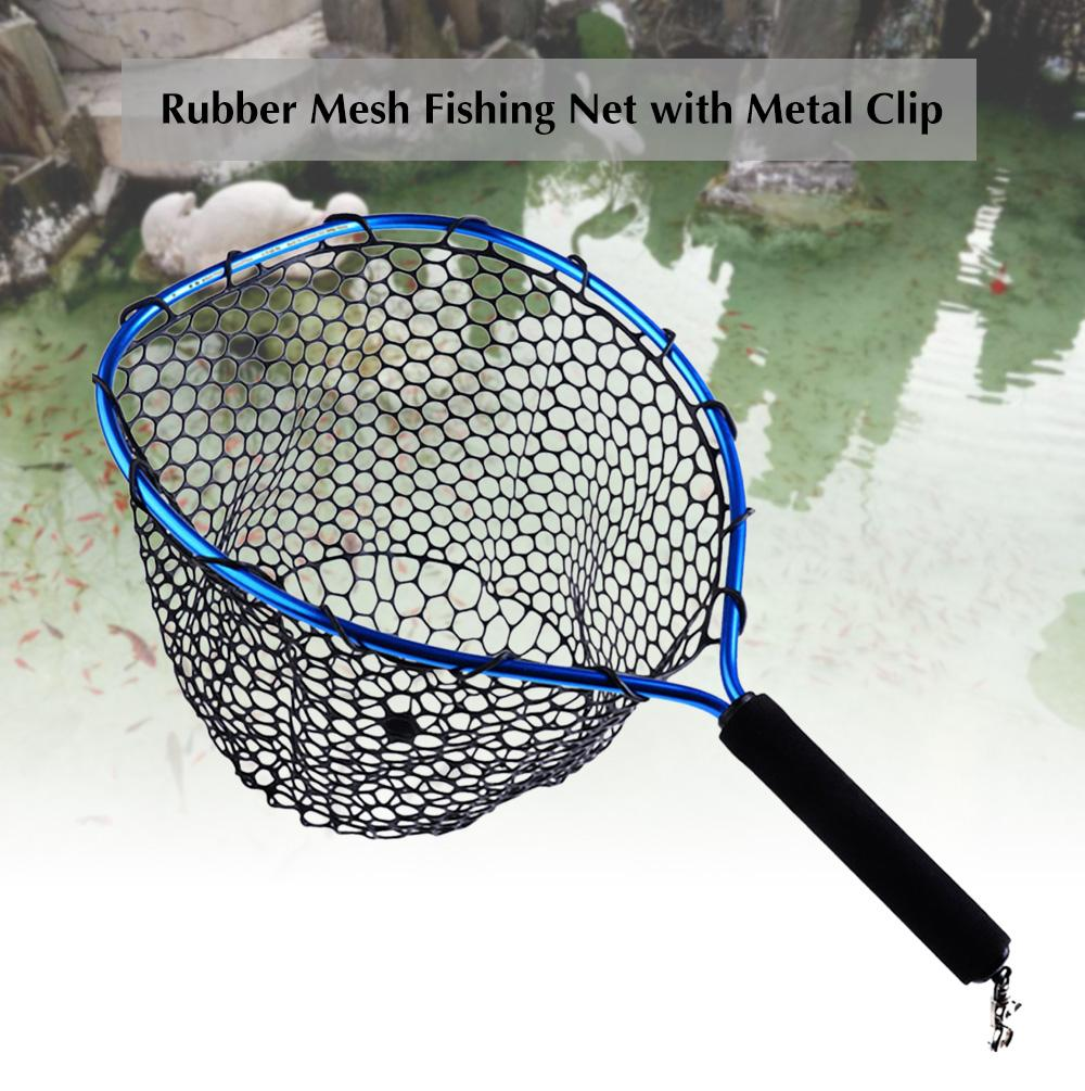 Fly Fishing Landing Net Mesh Foldable Brail Black Soft Rubber Eva Handle Fishnet
