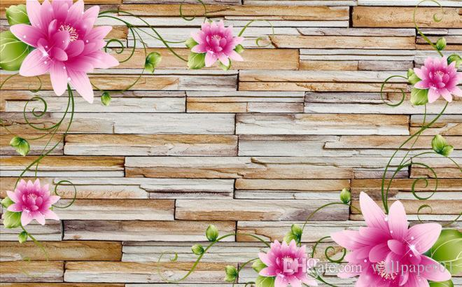 Individuelle Fototapete 3D-Stereo Original 3D Rose Stone Brick Wall TV-Hintergrund-Wand dekorative Malerei Home Decor Wohnzimmer-Wand Cove