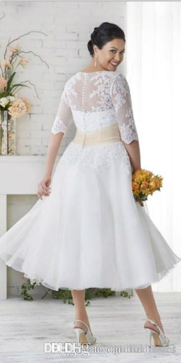 2018 New Plus Size Wedding Dresses With Sleeves A Line V Neck Ball Gowns  Under 100 Vintage Tea Length Wedding Dress Colored Wedding Gowns From ...