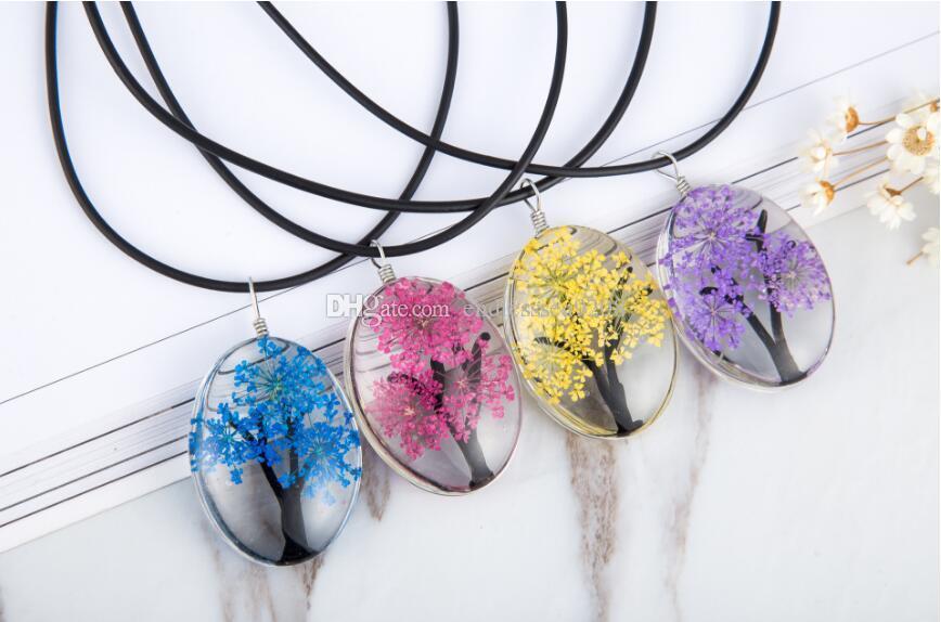 Tasarım Kurutulmuş Çiçekler Bitki Örnekleri Hayat Ağacı Kolye Kolye Ile Kadınlar Için Deri Halat Zincir Moda Oval Cam Takı Gerdanlık