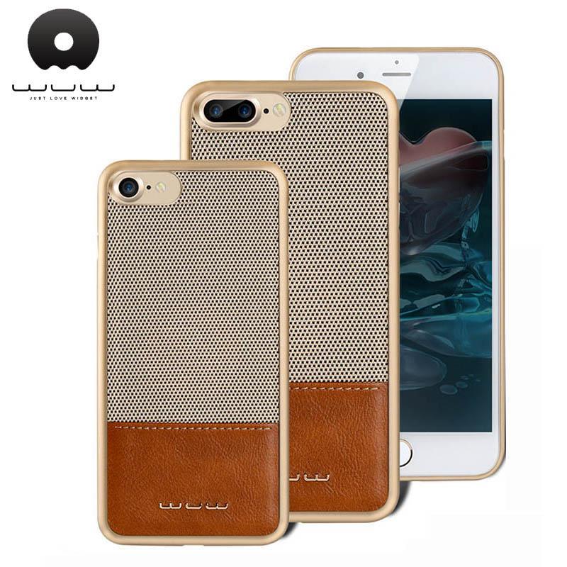 Wuw K47 Funda magnética para Iphone 6 6s Plus Fibra de carbono + Estuche de cuero Cubierta del teléfono para Iphone 7 Plus Funda 4 .7 '' 5 .5 ''