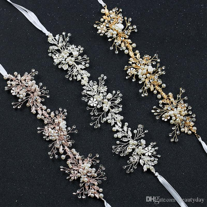 Розовое золото волосы цветы головные уборы для свадьбы свадебные невесты барокко шик ручной работы Кристалл жемчуг горный хрусталь оголовье серебро золото