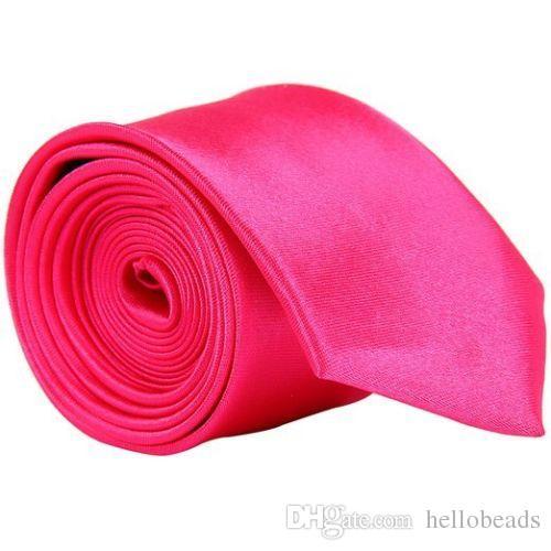 rosa caliente de la boda banquete clásico delgado de los nuevos hombres del estrecho flacos corbata corbata de color sólido