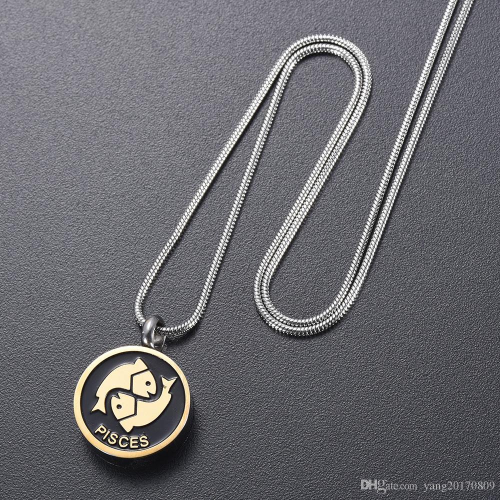 IJD9968 Edelstahl Die Geburtstagsserie Fische Sternzeichen Memorial Halskette für Asche Urne Armband Souvenir Halskette