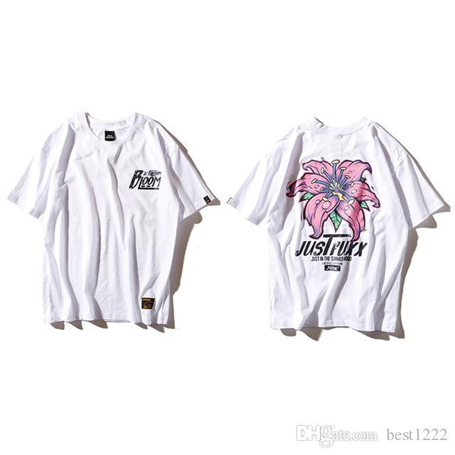 Floral T-shirts d'homme Harajuku T-shirt imprimé fleurs Hip Hop Casual manches courtes T-shirts hommes T-shirts en coton Streetwear Tops