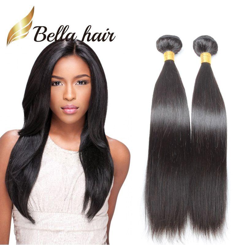 BELLA HAAR® Populäre Brasilianische Haarverlängerungen Doppelschuss Natürliche Farbe 9A Gerade Haarbündel 2pcs / lot Gemischte Länge 10 ~ 24 Zoll Gewebe
