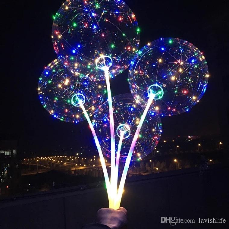 BOBO Balloon with Stick Colored Light Luminous Clear Transparent LED Balloons for Wedding Christmas Home Decorations Helium Air Ball