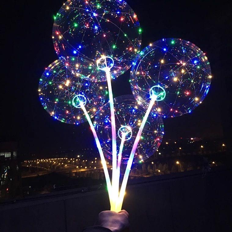 웨딩 크리스마스 홈 장식 헬륨 공기 공을 스틱 컬러 라이트 발광 맑고 투명 LED 풍선 보보 풍선