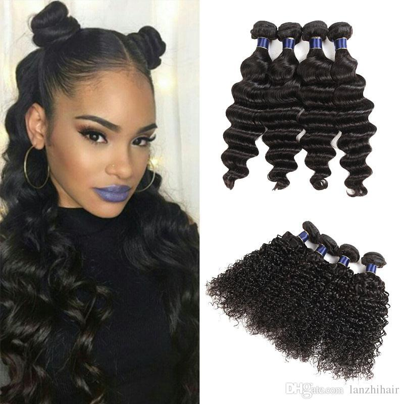 8A Brazilian Remy Human Hair Wefts Weaves 5/6 piece Lot Malaysian Human Hair Extensions Loose Wave Jerry Curly Free shipping DHL