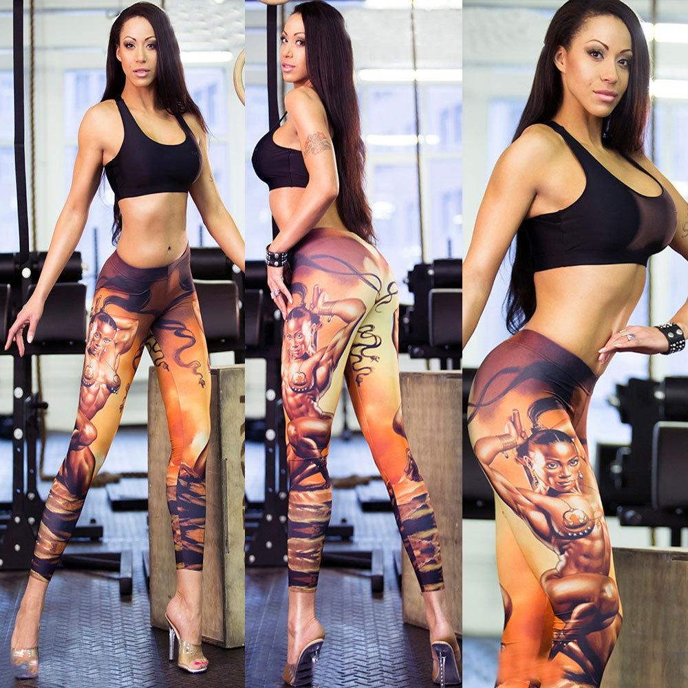 Calças de Yoga Impresso Mulheres de Cintura Alta de Fitness Esporte Leggings Mulheres Correndo Compressão Elástica Treino de Yoga Leggings De Malha Apertada