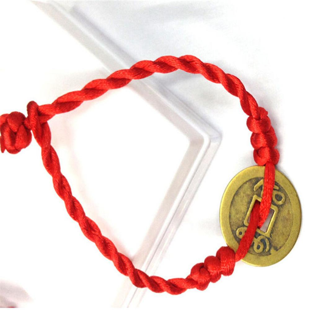 OPPOHERE Hombres Mujeres Feng Shui Red String Lucky Coin Charm Pulsera de buena suerte riqueza
