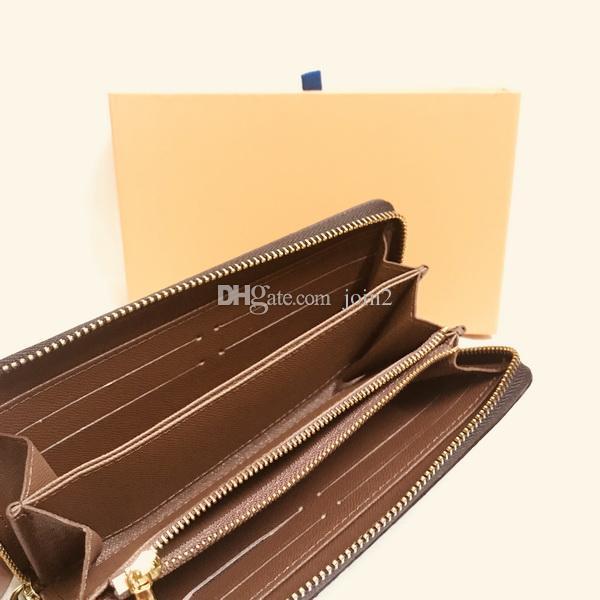 M42616 럭셔리 디자이너 Zippy Long Wallet 여성 지퍼 브라운 지갑 모노 그램 수니스 가죽 체크 격자 무늬 지갑 무료 배송 좋은 qaulity