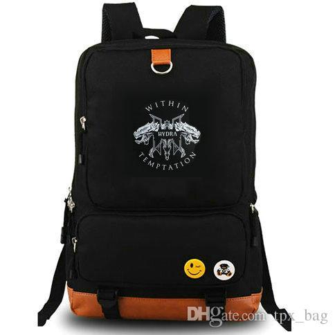 Dentro de Temptation mochila Anjos daypack Mãe terra metal banda de rock música mochila Laptop mochila saco de escola de Lona dia pacote ao ar livre
