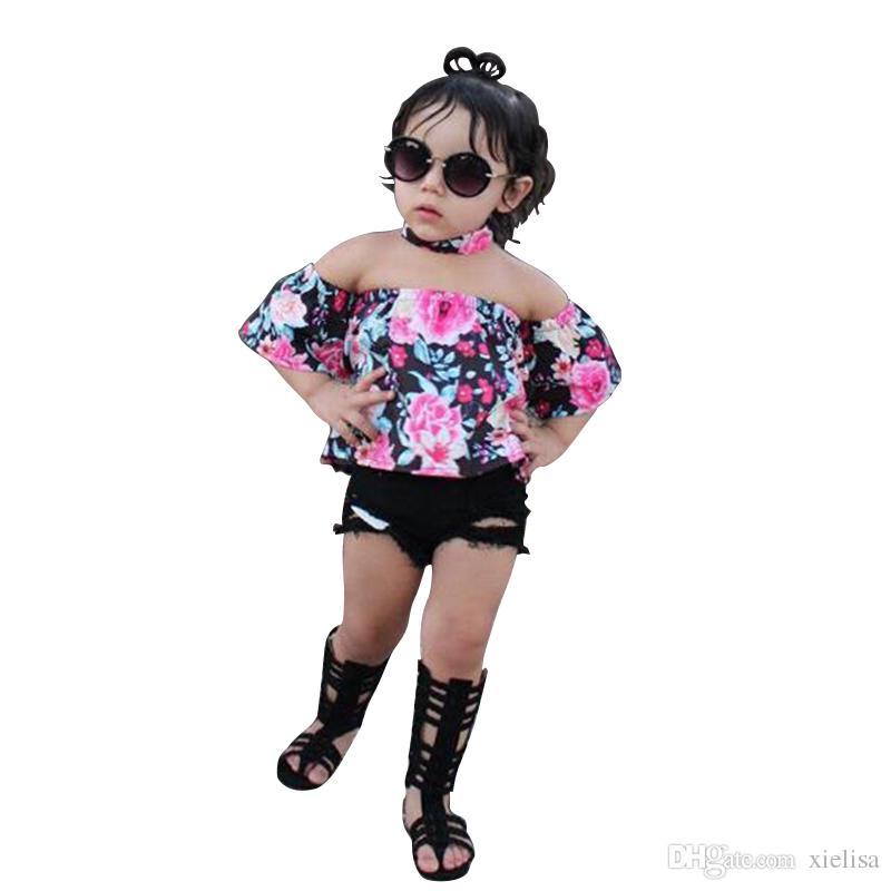 Giallo top per bambini ragazze rosa T shirt set neonata spalle Pantaloncini fototecnica bambini copre gli insiemi vestiti della ragazza 1-6Y