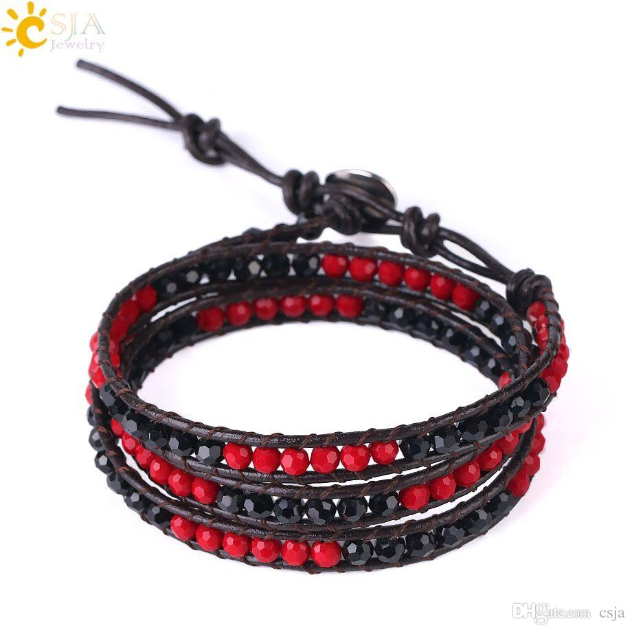 CSJA 2018 Women Boho Jewellery 7mm Width Leather Bracelets & Bangles Mixed Color Faceted Glass Crystal Beads Wrapped New Beach Jewelry S119