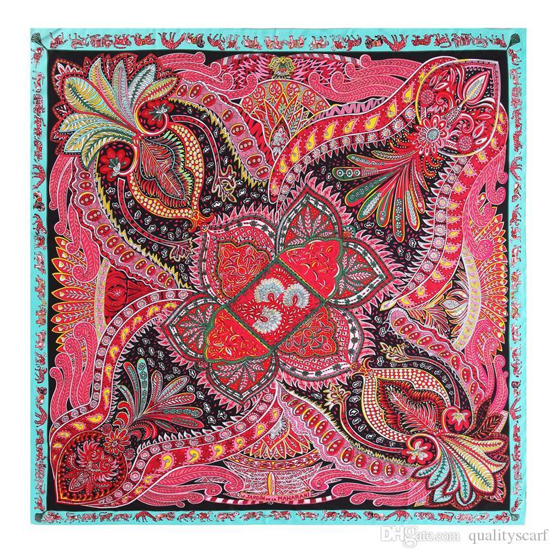 Taille Big ethnique Place soie rouge Paisley écharpe pour les femmes à la main Femme Châles Foulard et Wraps Twill Imprimé écharpe Wholesafe