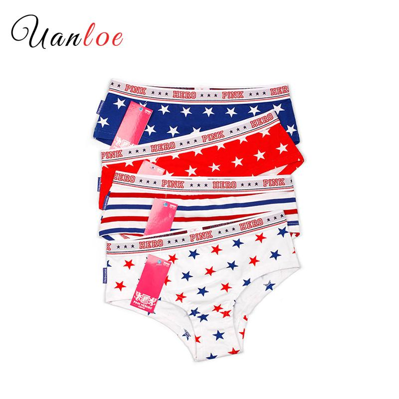 2020 Chic Printed Panties 4 Pieces Woman Design Striped&Star Print Briefs Ladies Sexy Lingerie Womens 93% Cotton Underwear Sale