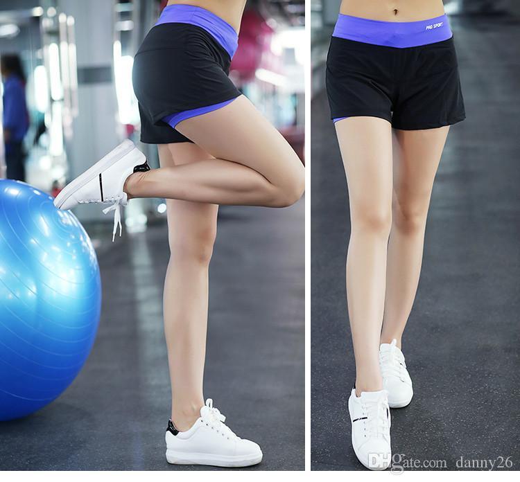 Donne Asciugatura Rapida Yoga Doppio Strato Sport Corto Sport Outdoor Fitness Palestra Yoga Pantaloncini Da Corsa