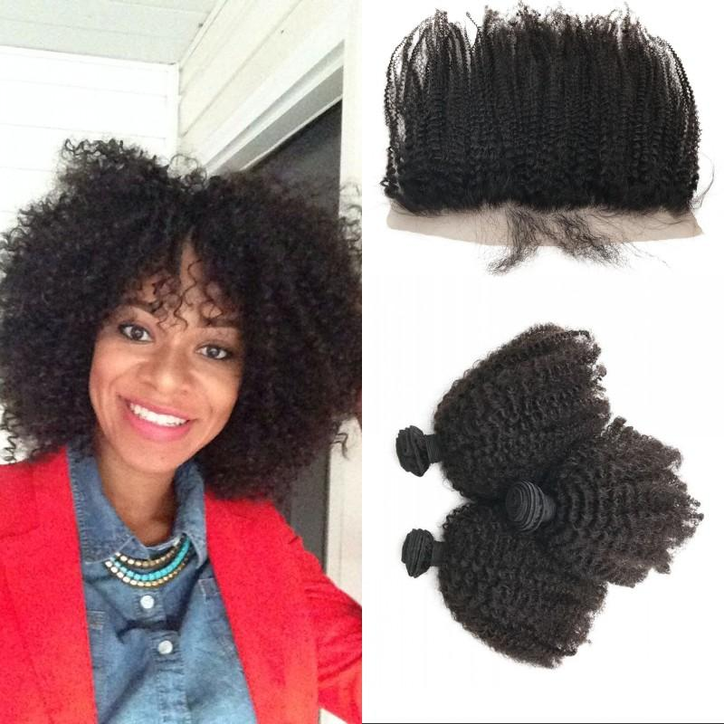 13x4 Free Part Lace Frontal Closure with 3pcs Human Hair Weaves Vietnamese Afro Kinky Curly Hair with Frontal FDshine