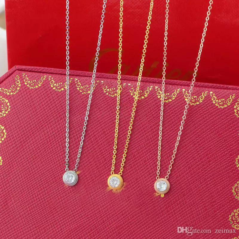 Collar color de Singel diamante de la CZ colgante de oro rosa de plata para el collar de las mujeres de la vendimia joyería de fantasía con juego de caja original