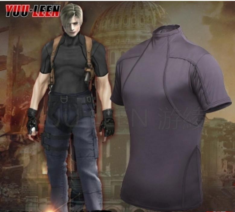 Resident Evil 4 Leon Kennedy Cosplay Tee Shirt Short Sleeve Mens T