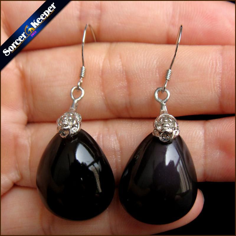 Ganci in argento 925 al 100% con pendente in pietra naturale in argento con ossidiana Orecchini pendenti vintage per donne 1 paio LS913