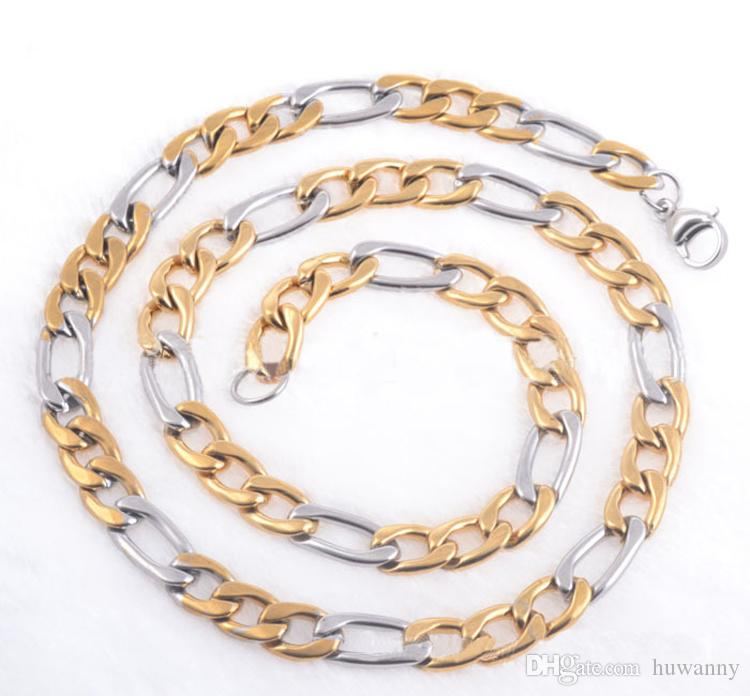 6mm Gold and Silver Keel Chains Necklaces For Men Titanium Steel Chain Necklace 20 22 24inch Jewelry wholesale Free Shipping - 0796WH