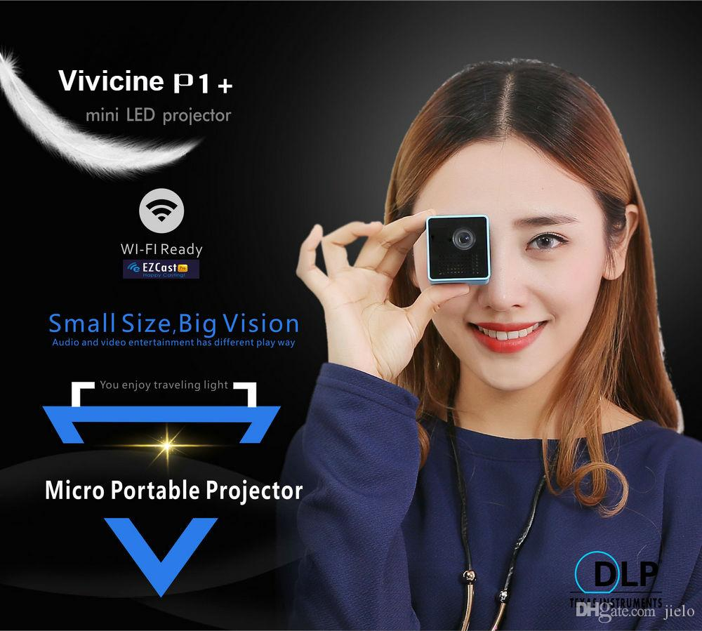 4k Mini Projector P1+ WIFI , 1080P Pocket Size Smart Micro Proyector,Support Miracast DLNA Airplay ,Built-in Battery Pico Beamer wholesale
