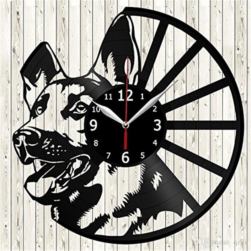 Lobo cão Animal relógio de parede de Vinil moderno home decor artesanato criativo presente do escritório da arte da parede simples decoração da sala de estar relógio de quartzo