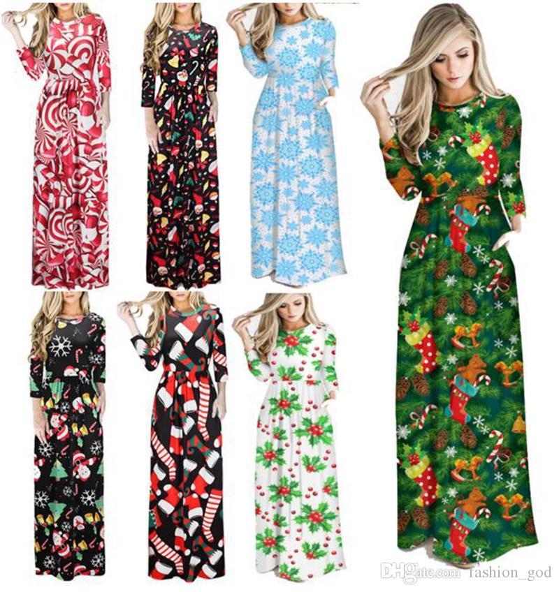 Рождественские платья женщин мультфильм печатных Dres Леди Макси Dresss шею длинным рукавом юбка партия dress женские длинные платья YL572