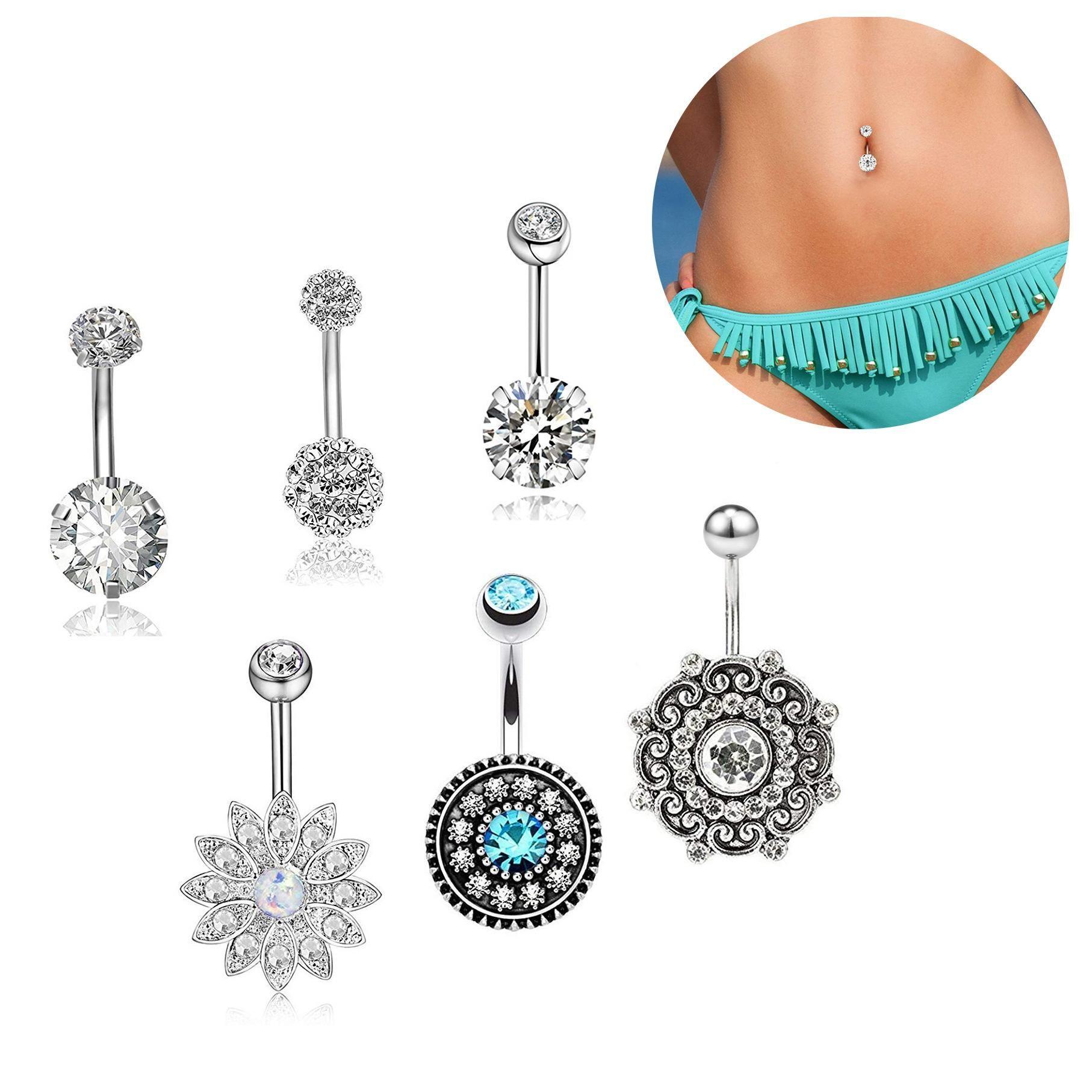 Trendy Navel Belly Button Rings Steel Zircon Piercing Jewelry Hot Sale