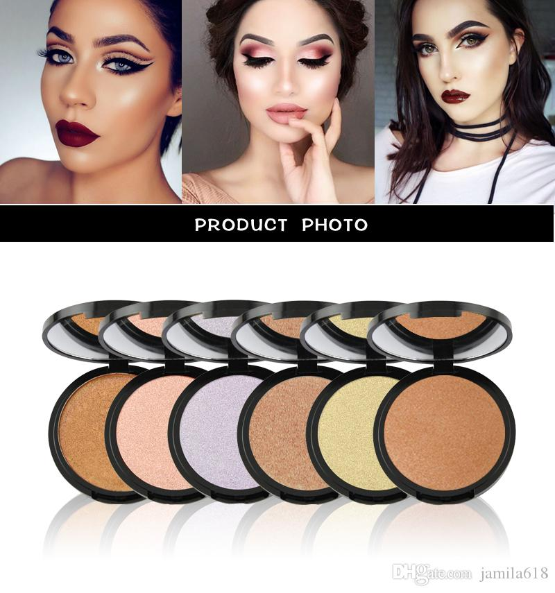 Wholesale No logo 6 colors Face powder Beauty Makeup Cosmetics Highlighter Pressed Powder Face contour full coverage waterproof foundation