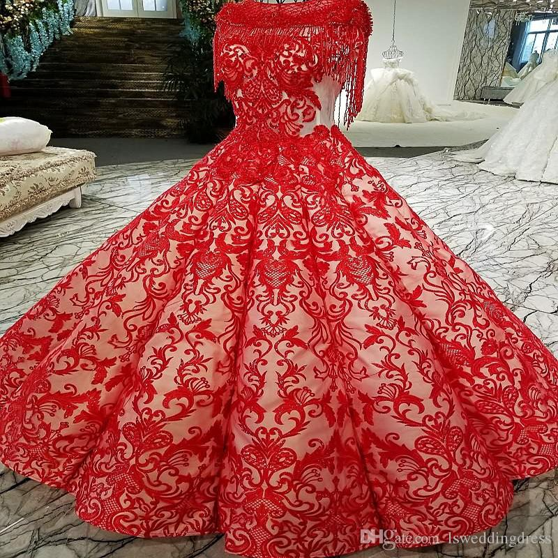 2019 Red Color Lace Prom Dresses Floor Length Tassel Short Sleeves Original Design Evening Dress New Arrival From China Online Store
